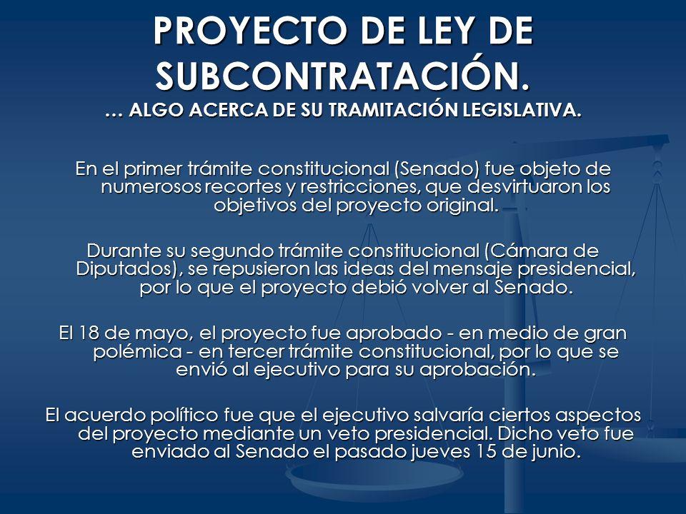 PROYECTO DE LEY DE SUBCONTRATACIÓN
