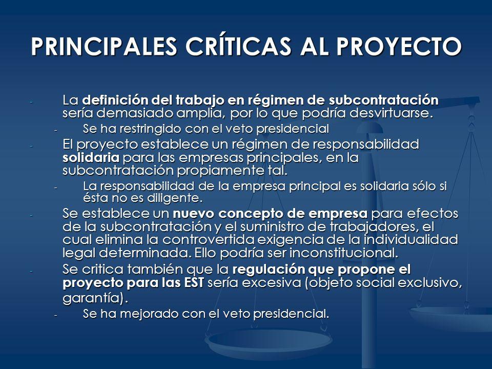 PRINCIPALES CRÍTICAS AL PROYECTO