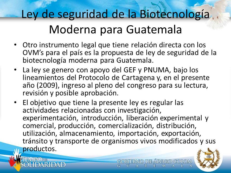 Ley de seguridad de la Biotecnología Moderna para Guatemala
