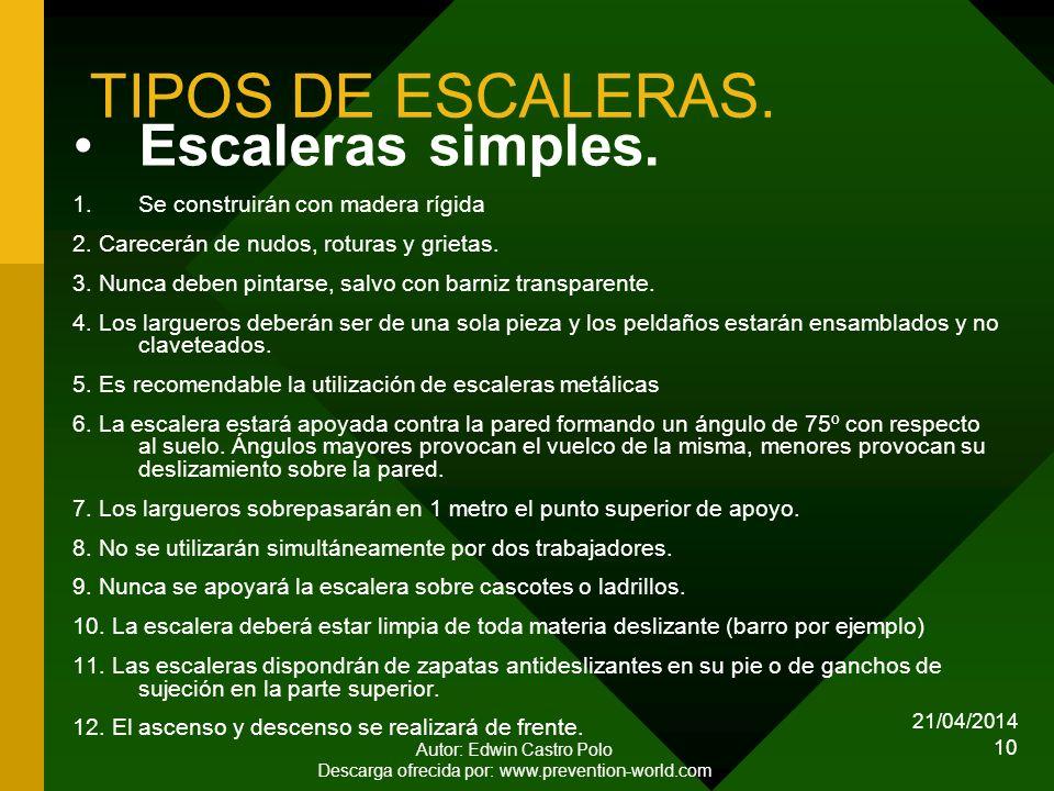 TIPOS DE ESCALERAS. Escaleras simples.