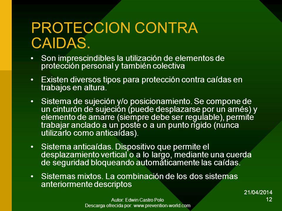 PROTECCION CONTRA CAIDAS.