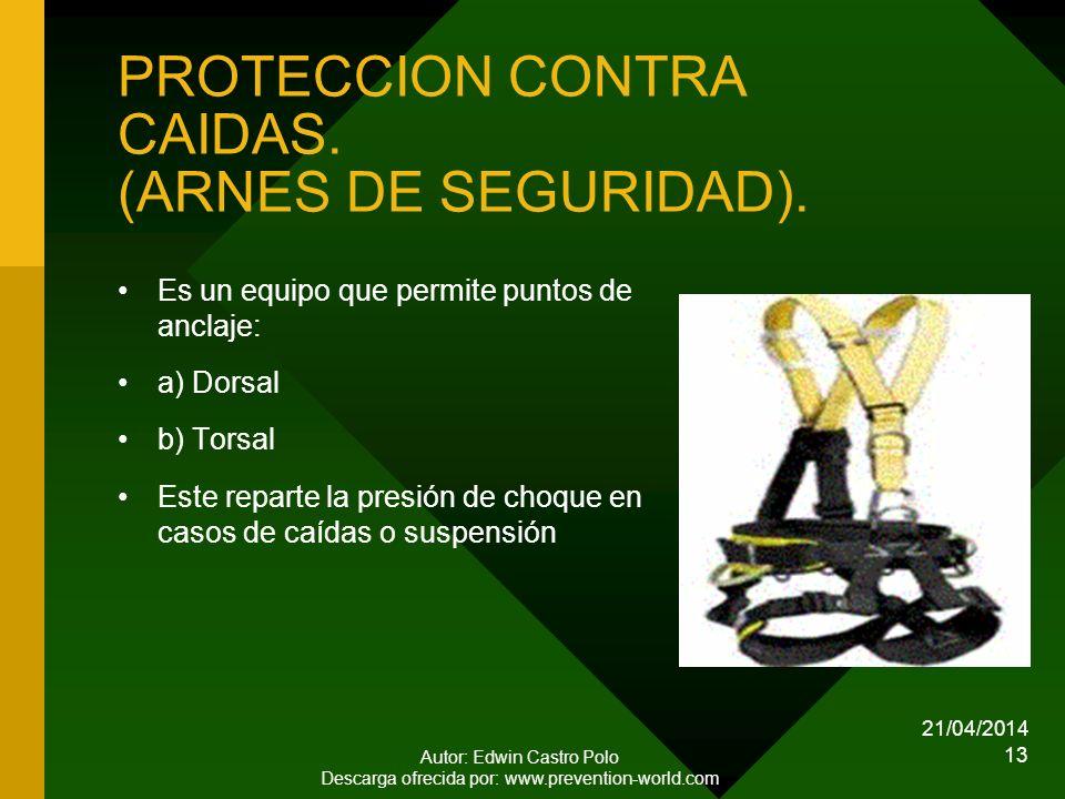 PROTECCION CONTRA CAIDAS. (ARNES DE SEGURIDAD).