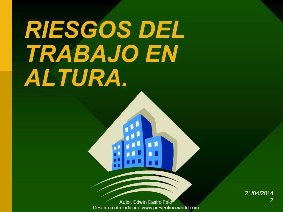 RIESGOS DEL TRABAJO EN ALTURA.