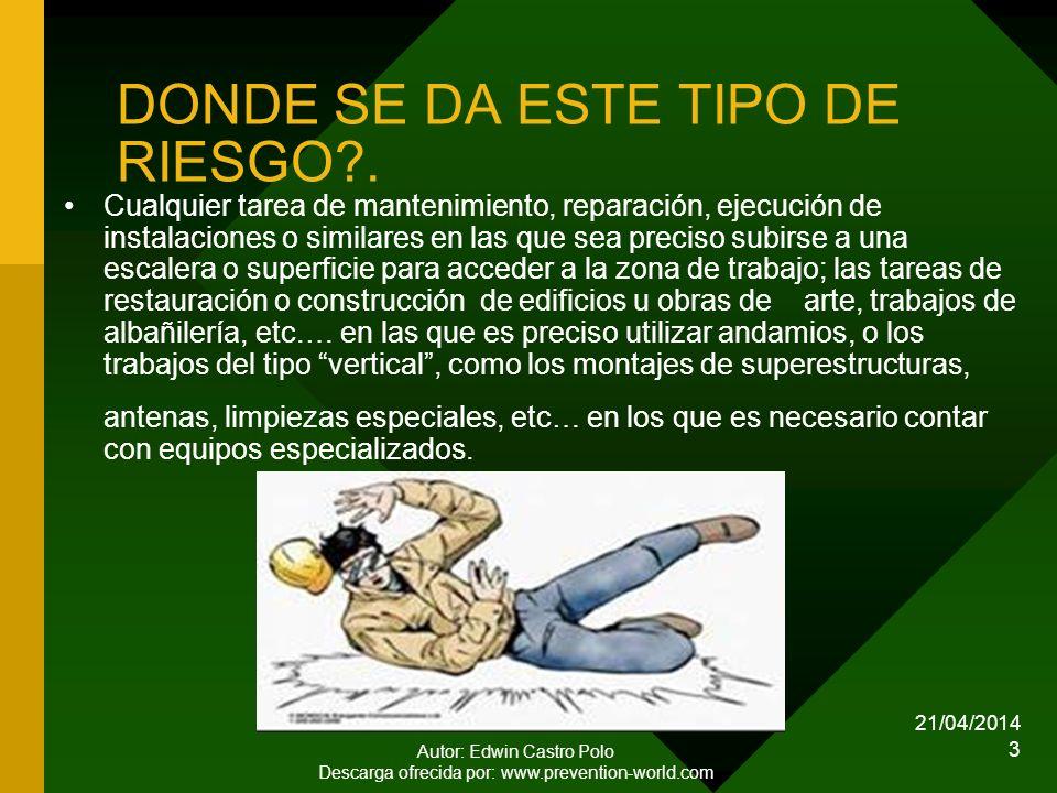 DONDE SE DA ESTE TIPO DE RIESGO .