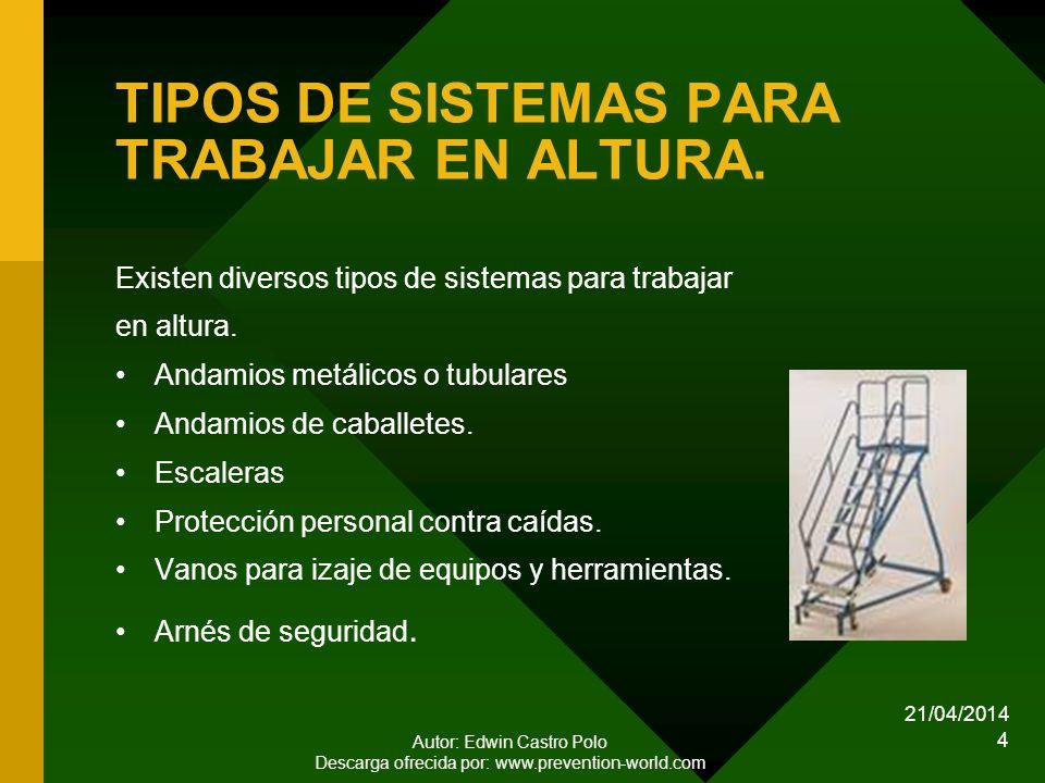 TIPOS DE SISTEMAS PARA TRABAJAR EN ALTURA.