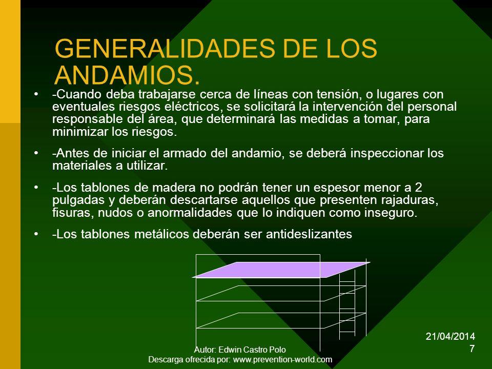 GENERALIDADES DE LOS ANDAMIOS.