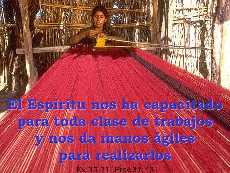 El Espíritu nos ha capacitado para toda clase de trabajos y nos da manos ágiles para realizarlos