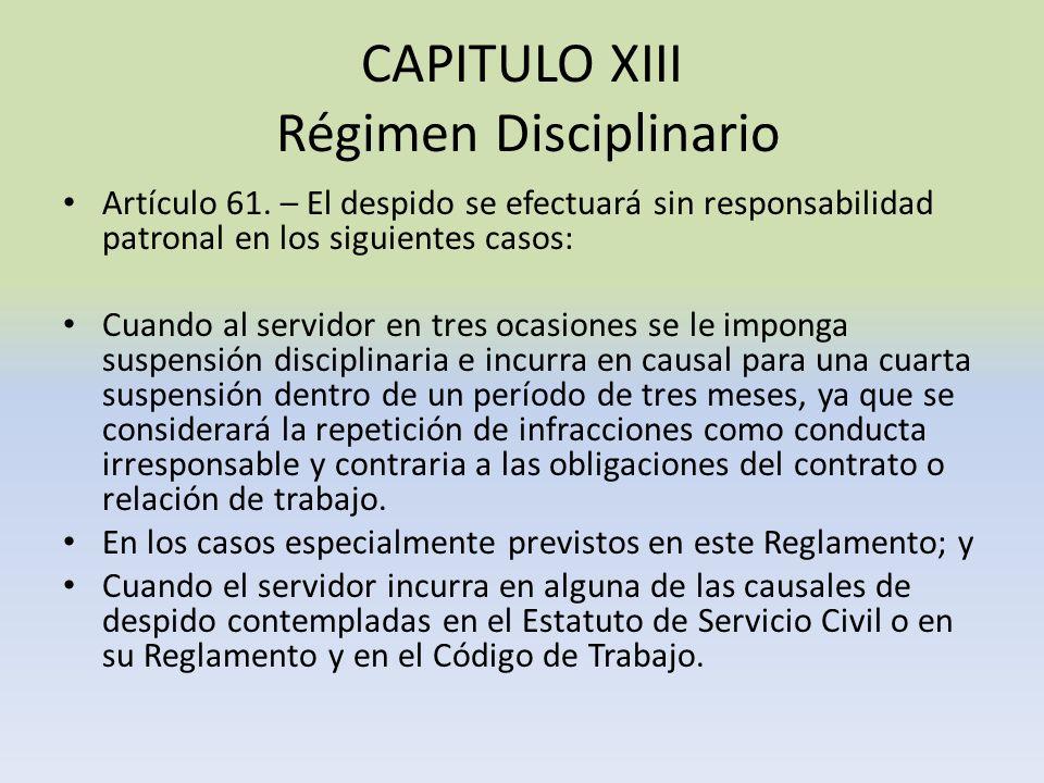 CAPITULO XIII Régimen Disciplinario