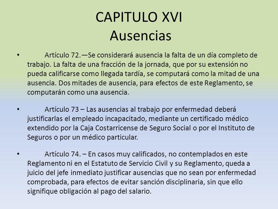 CAPITULO XVI Ausencias