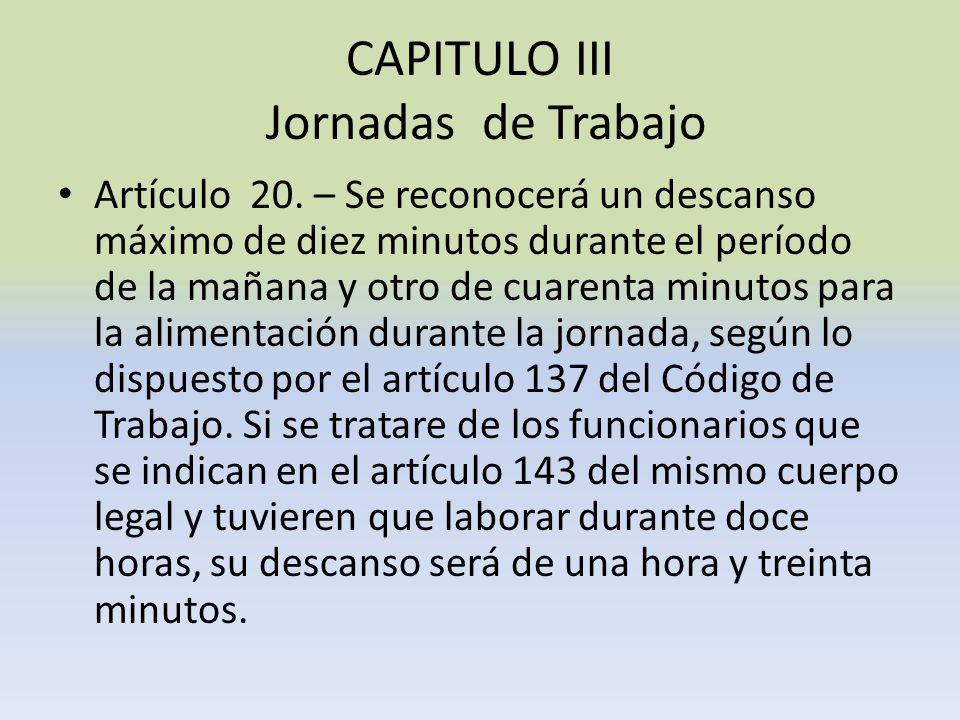 CAPITULO III Jornadas de Trabajo