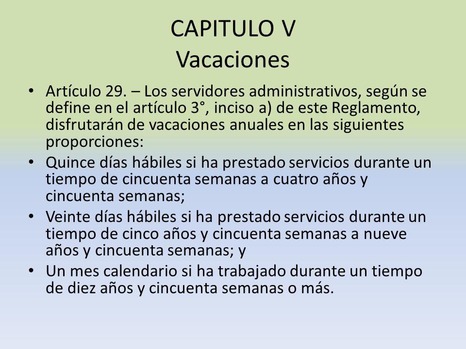 CAPITULO V Vacaciones