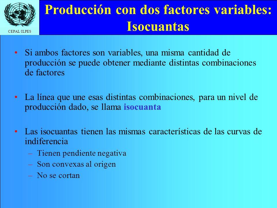 Producción con dos factores variables: Isocuantas