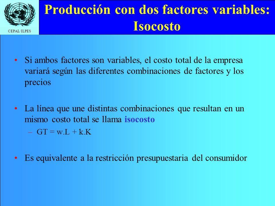 Producción con dos factores variables: Isocosto