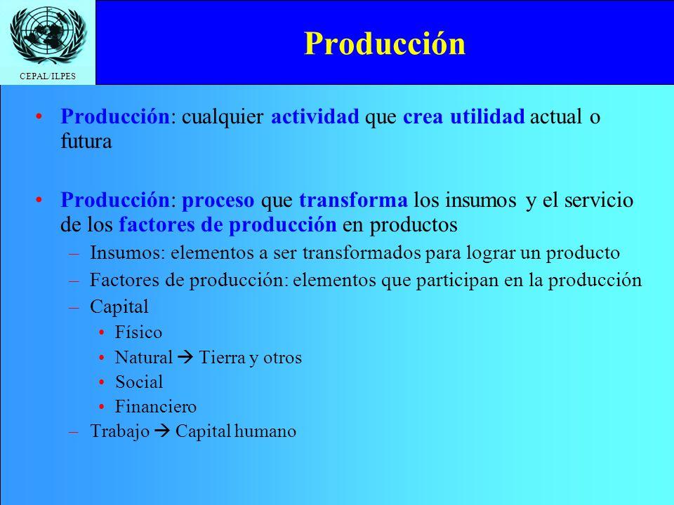 Producción Producción: cualquier actividad que crea utilidad actual o futura.