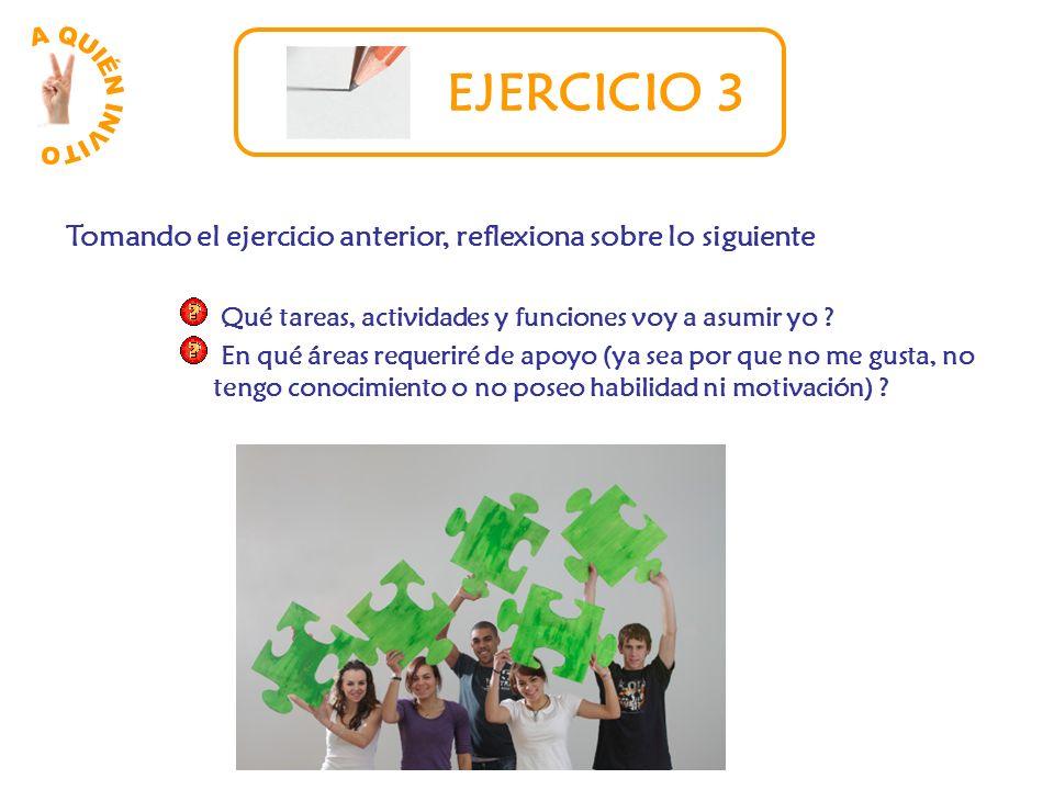 A QUIÉN INVITO EJERCICIO 3. Tomando el ejercicio anterior, reflexiona sobre lo siguiente. Qué tareas, actividades y funciones voy a asumir yo