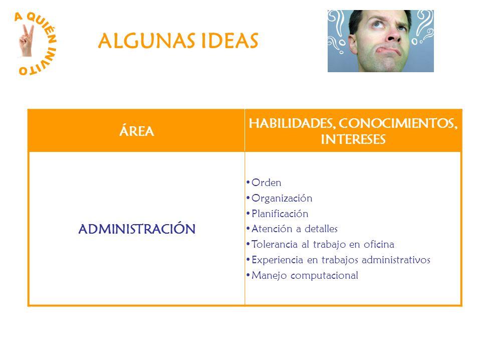 HABILIDADES, CONOCIMIENTOS, INTERESES