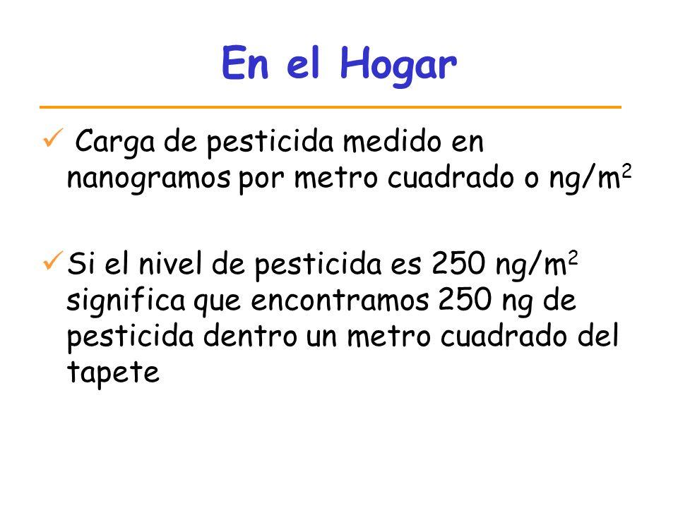 En el Hogar Carga de pesticida medido en nanogramos por metro cuadrado o ng/m2.