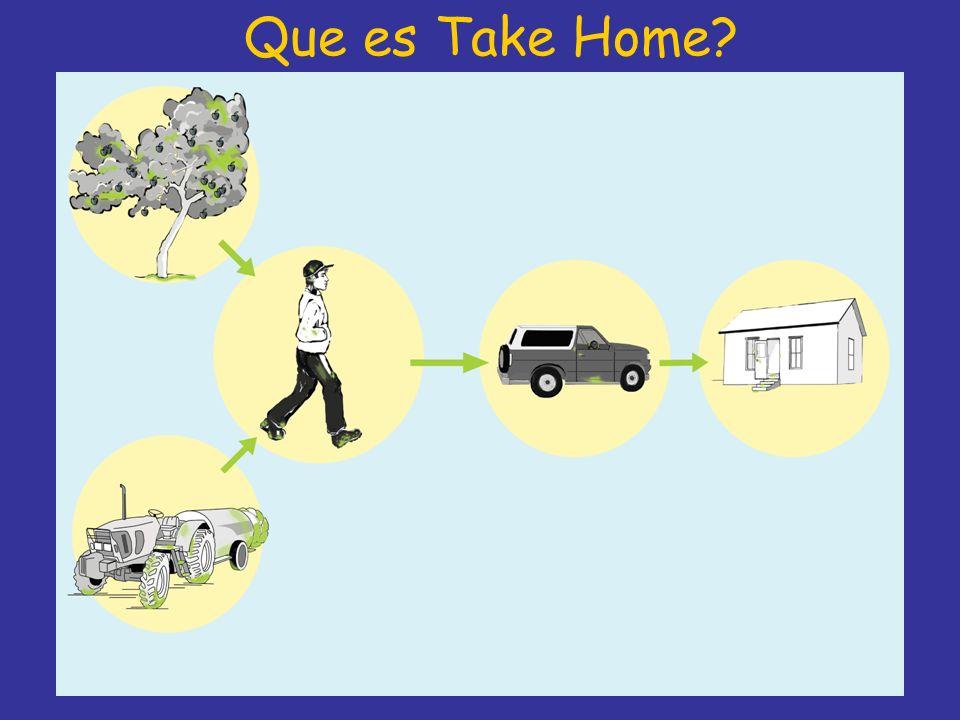 Que es Take Home Take Home es la frase que significa que los pesticidas son traidos del lugar de trabaja al hogar acidentalmente.