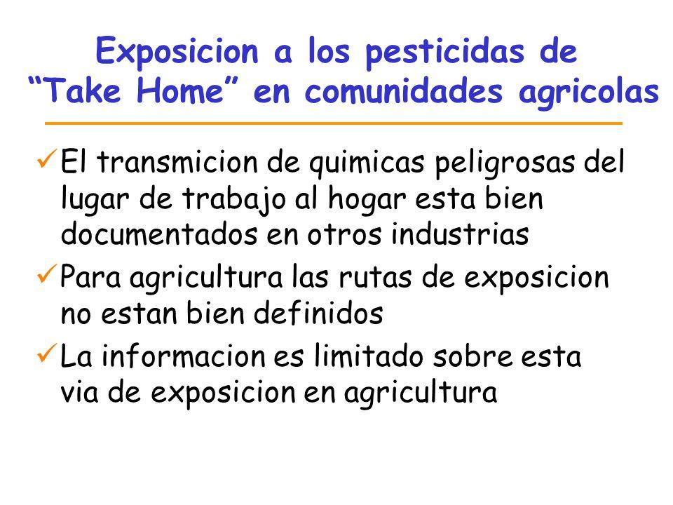 Exposicion a los pesticidas de Take Home en comunidades agricolas