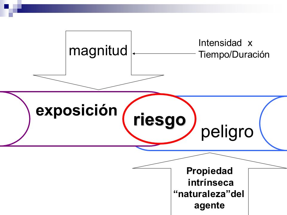 riesgo peligro exposición magnitud Intensidad x Tiempo/Duración