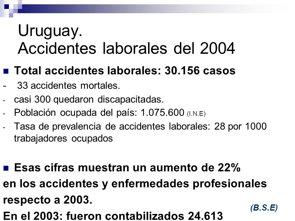 Uruguay. Accidentes laborales del 2004