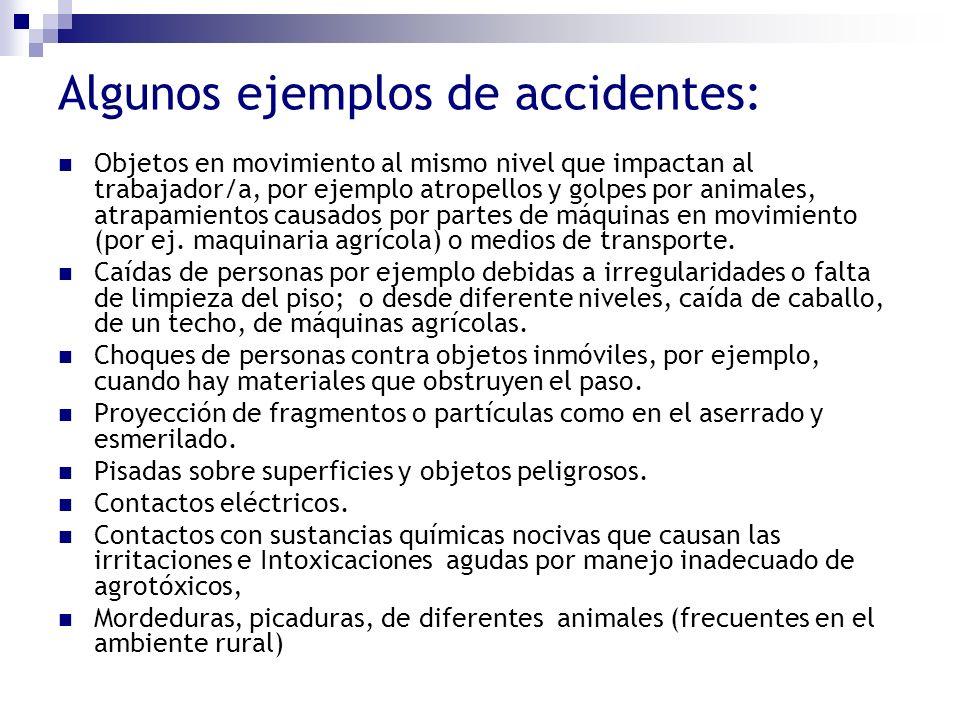 Algunos ejemplos de accidentes: