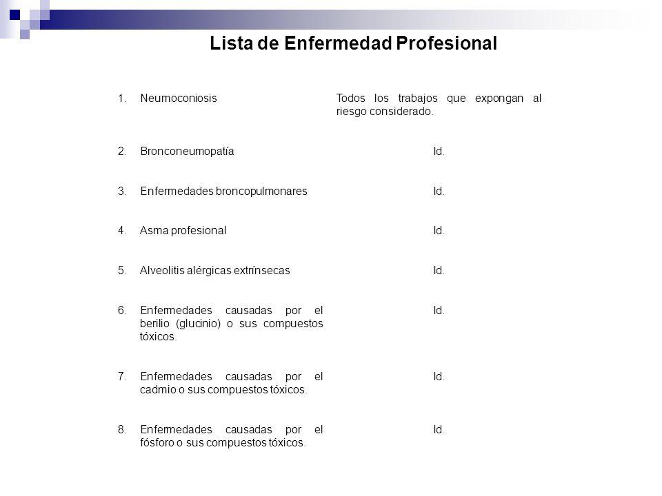 Lista de Enfermedad Profesional