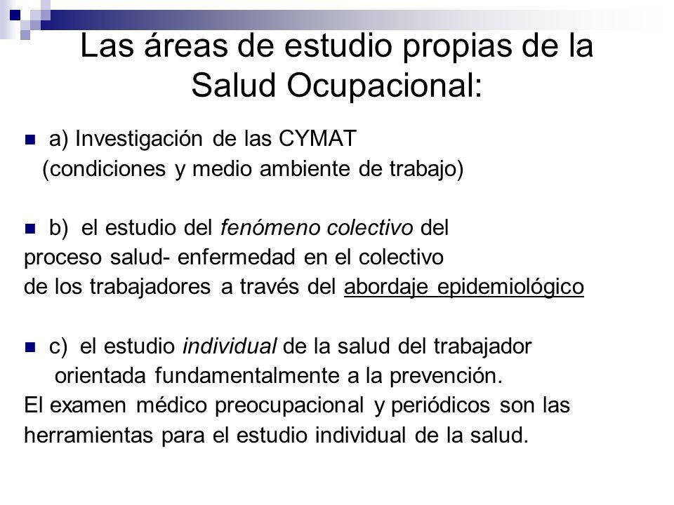 Las áreas de estudio propias de la Salud Ocupacional: