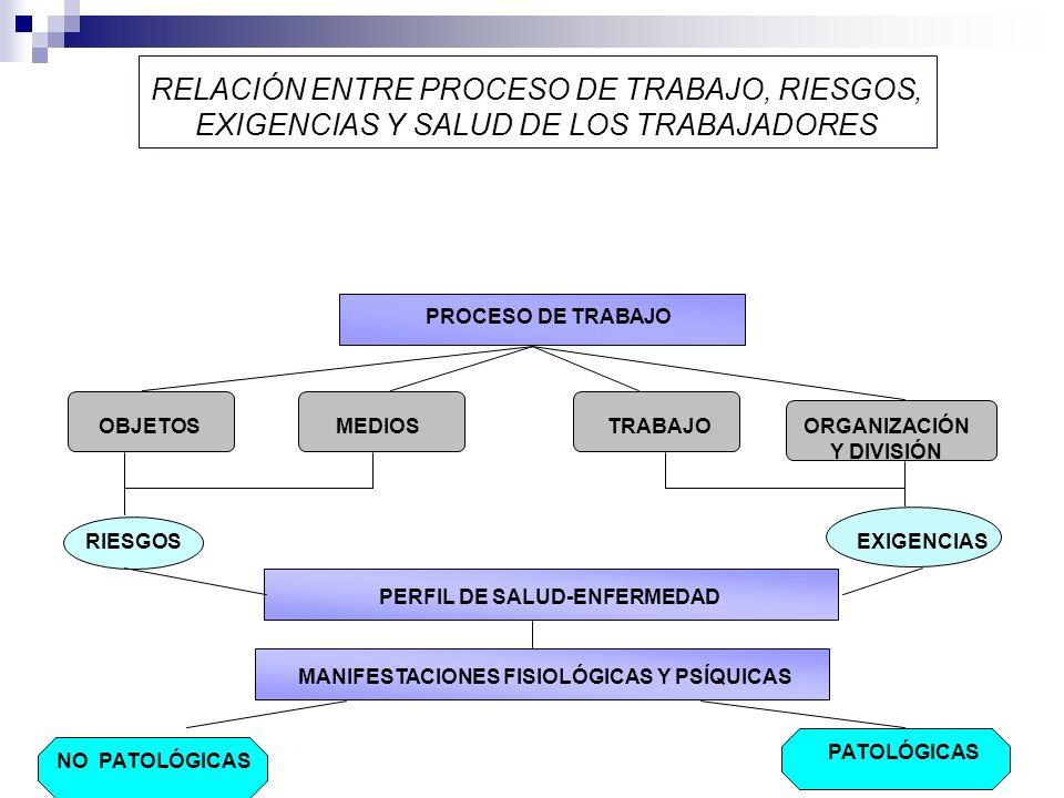 RELACIÓN ENTRE PROCESO DE TRABAJO, RIESGOS, EXIGENCIAS Y SALUD DE LOS TRABAJADORES