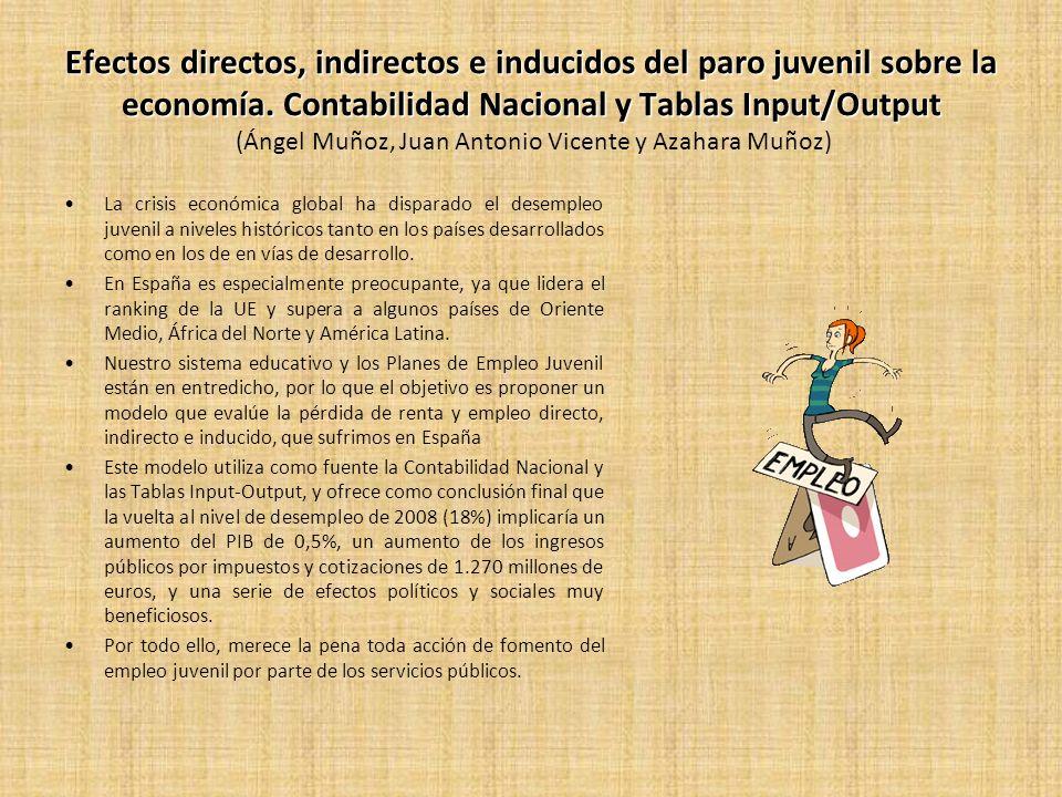 Efectos directos, indirectos e inducidos del paro juvenil sobre la economía. Contabilidad Nacional y Tablas Input/Output (Ángel Muñoz, Juan Antonio Vicente y Azahara Muñoz)