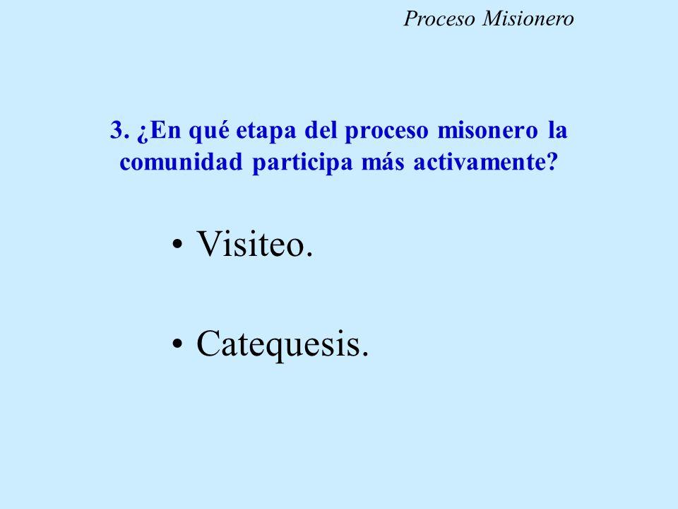 Proceso Misionero 3. ¿En qué etapa del proceso misonero la comunidad participa más activamente Visiteo.