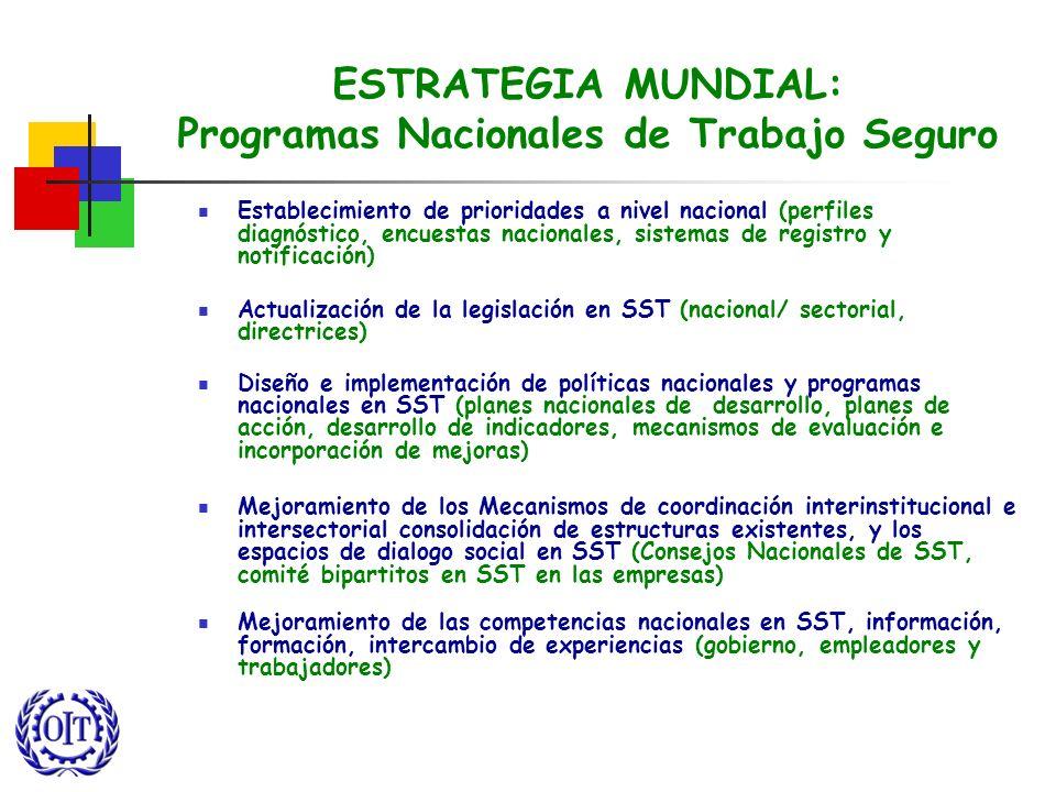 ESTRATEGIA MUNDIAL: Programas Nacionales de Trabajo Seguro