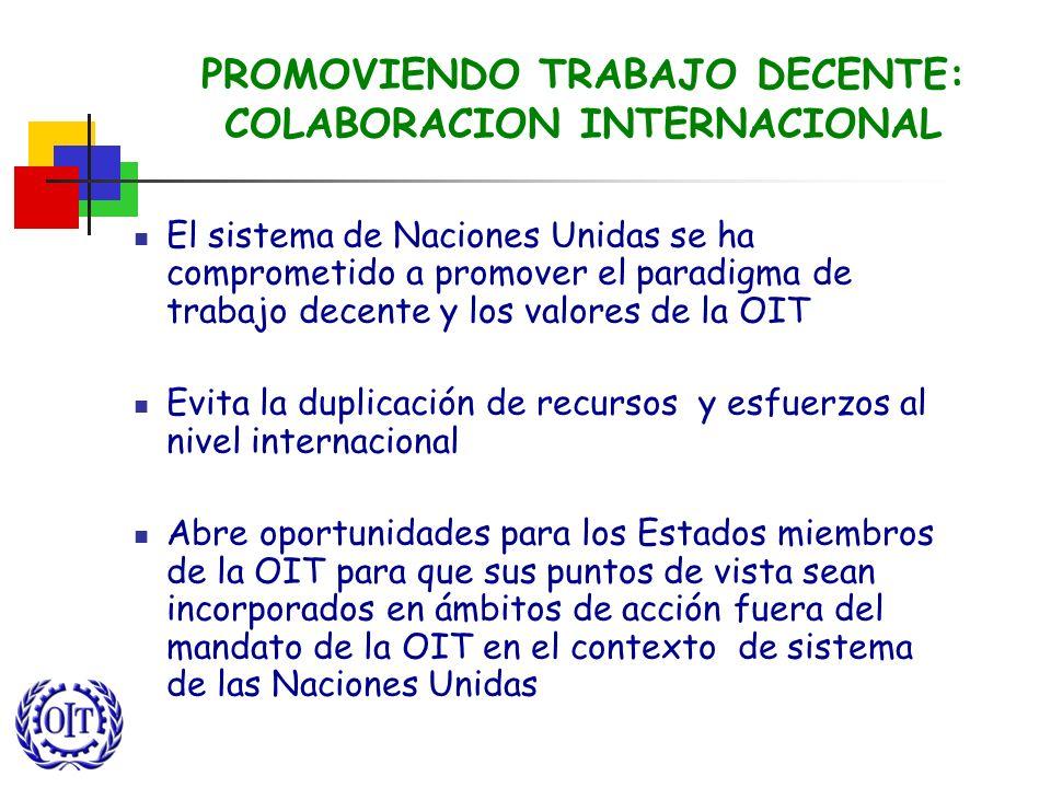 PROMOVIENDO TRABAJO DECENTE: COLABORACION INTERNACIONAL