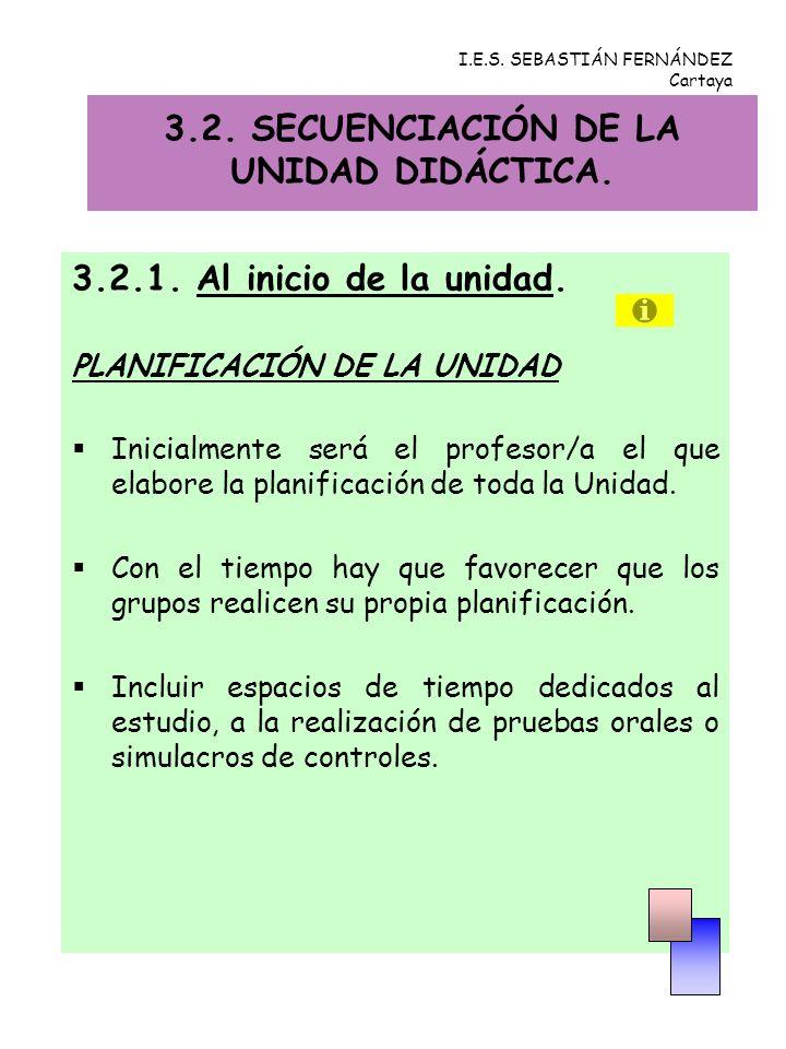 3.2. SECUENCIACIÓN DE LA UNIDAD DIDÁCTICA.