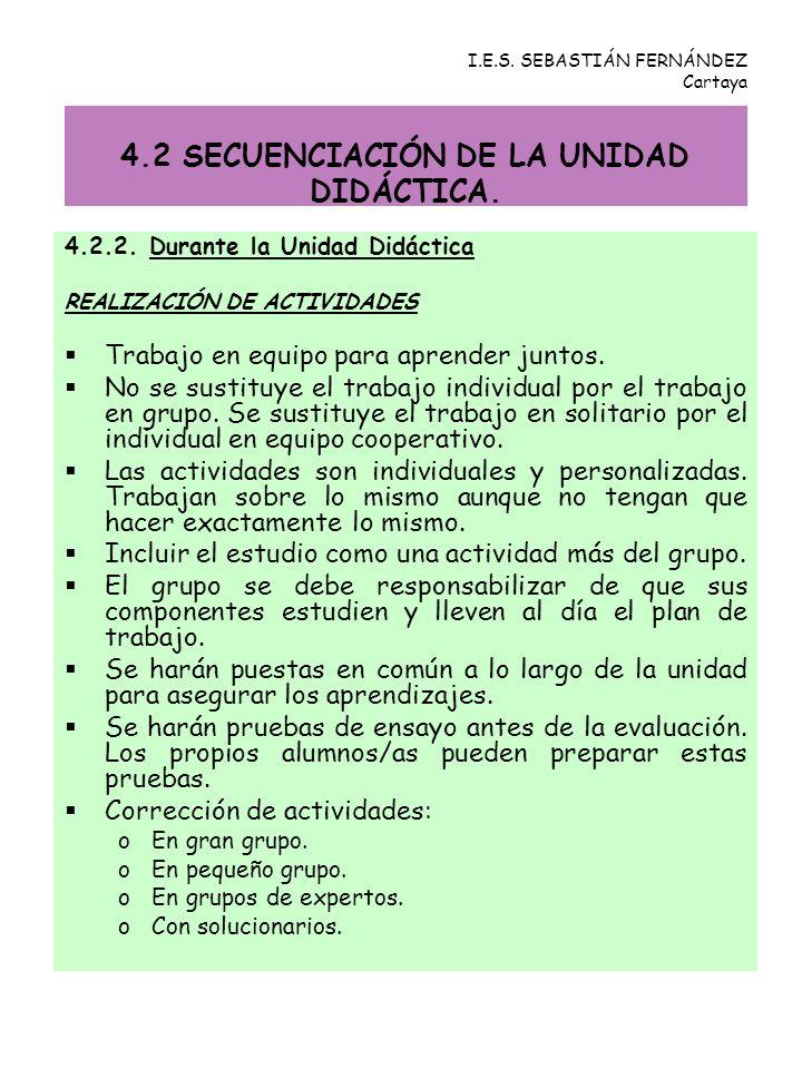 4.2 SECUENCIACIÓN DE LA UNIDAD DIDÁCTICA.