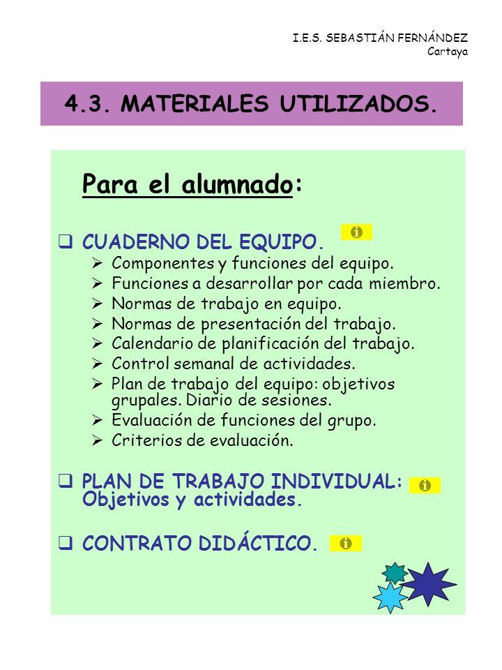 4.3. MATERIALES UTILIZADOS.