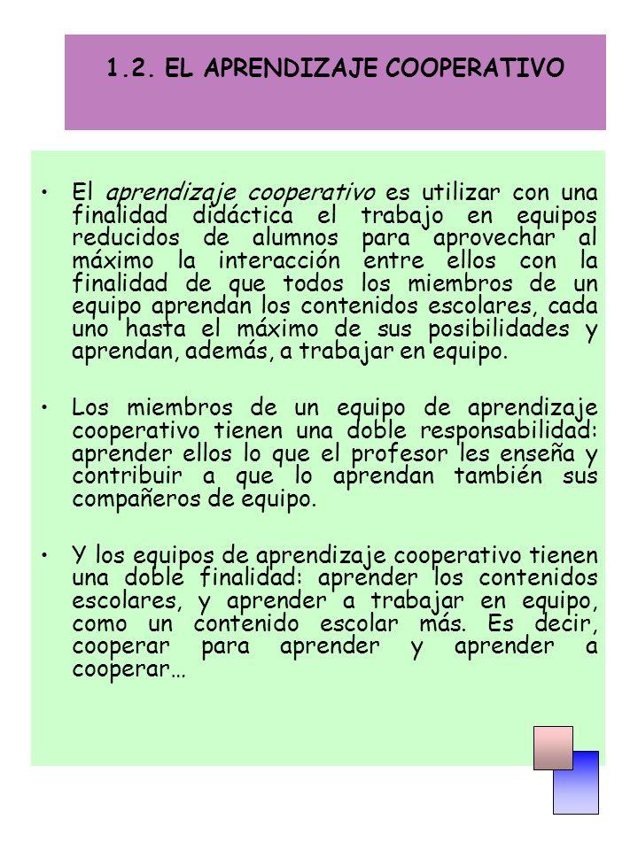 1.2. EL APRENDIZAJE COOPERATIVO