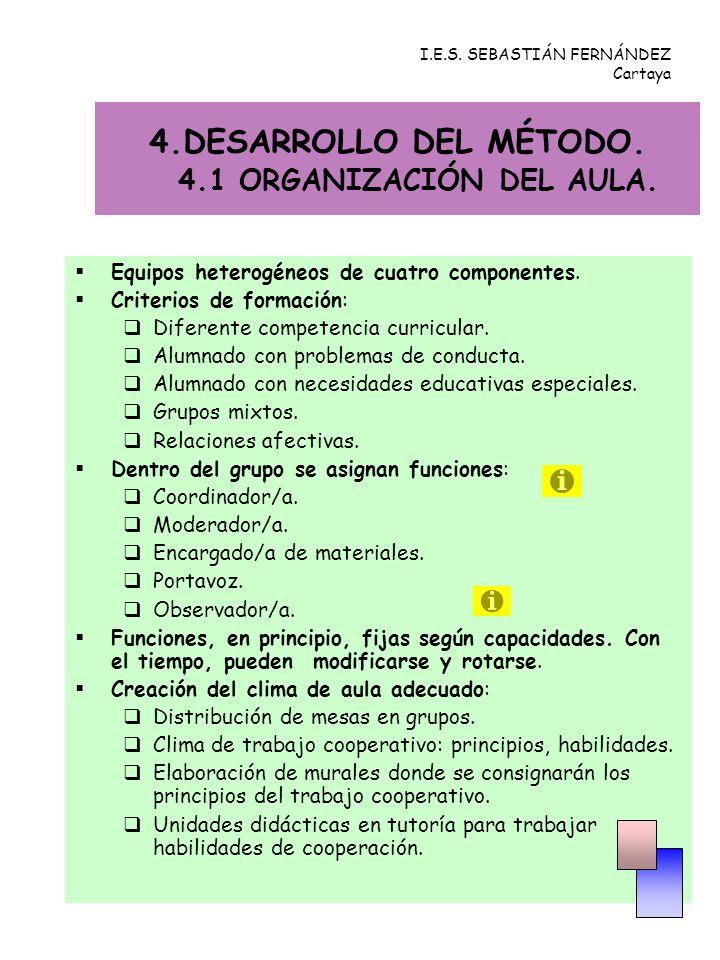 4.DESARROLLO DEL MÉTODO. 4.1 ORGANIZACIÓN DEL AULA.