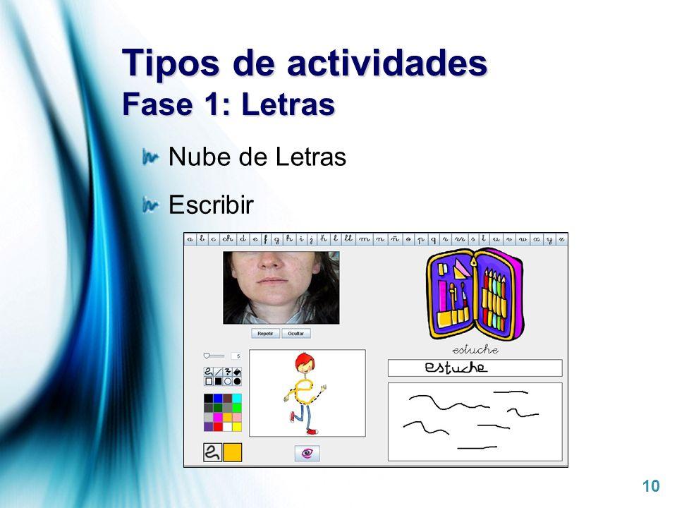 Tipos de actividades Fase 1: Letras