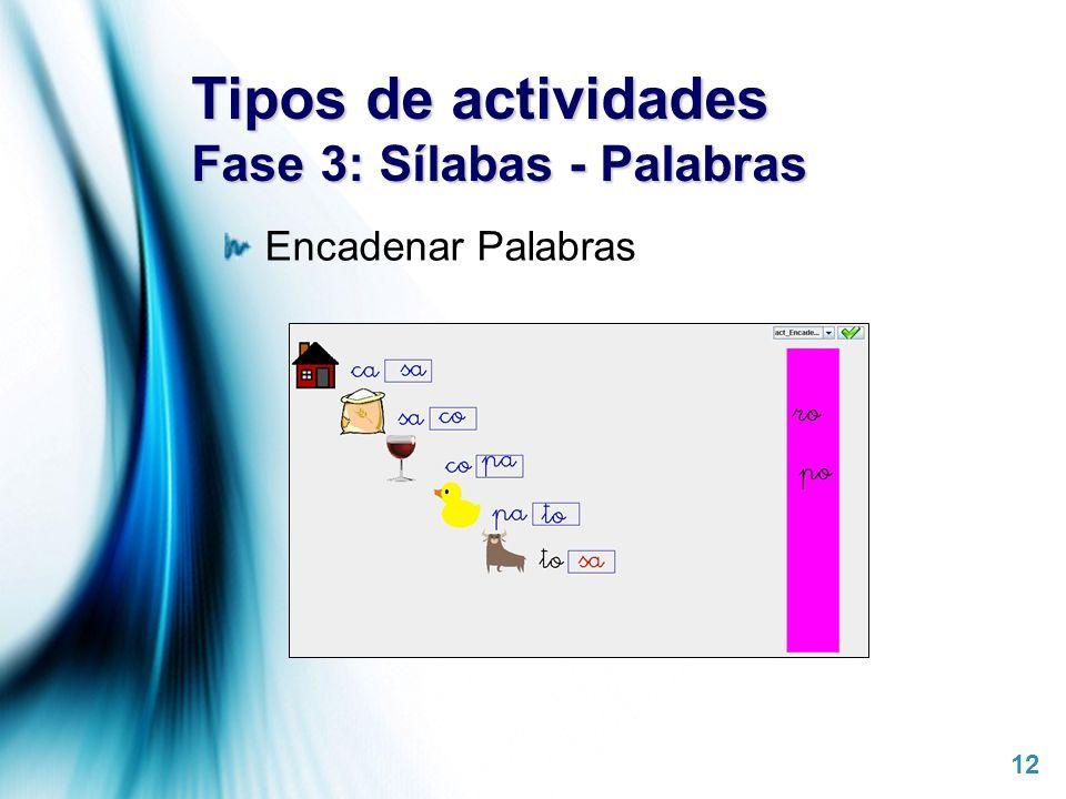 Tipos de actividades Fase 3: Sílabas - Palabras