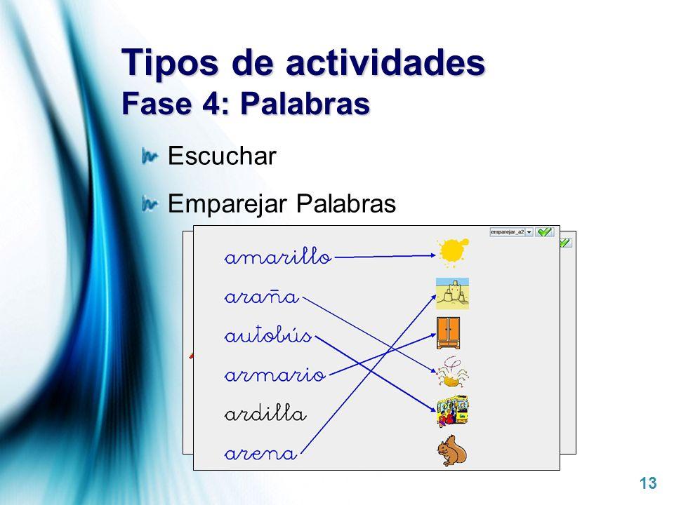 Tipos de actividades Fase 4: Palabras
