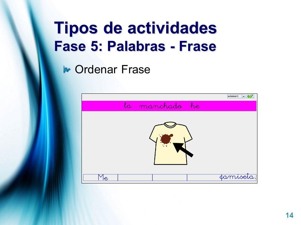 Tipos de actividades Fase 5: Palabras - Frase