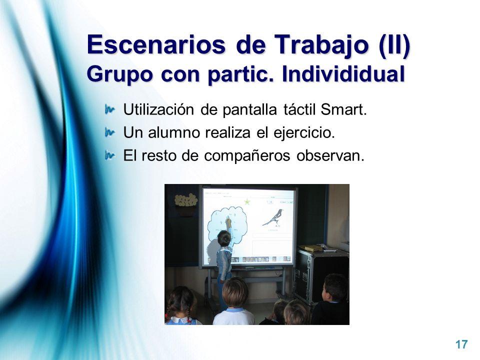 Escenarios de Trabajo (II) Grupo con partic. Individidual