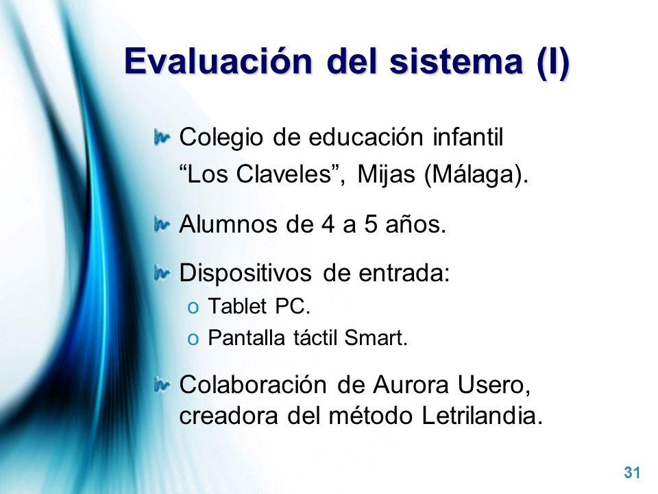 Evaluación del sistema (I)