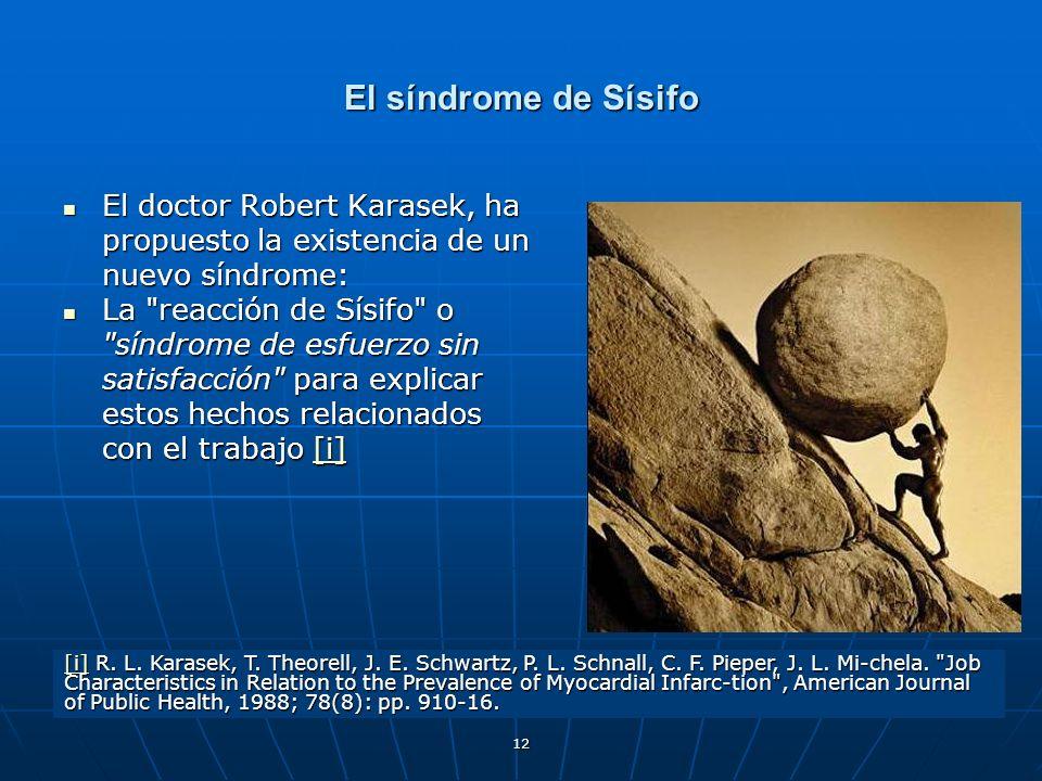 El síndrome de Sísifo El doctor Robert Karasek, ha propuesto la existencia de un nuevo síndrome: