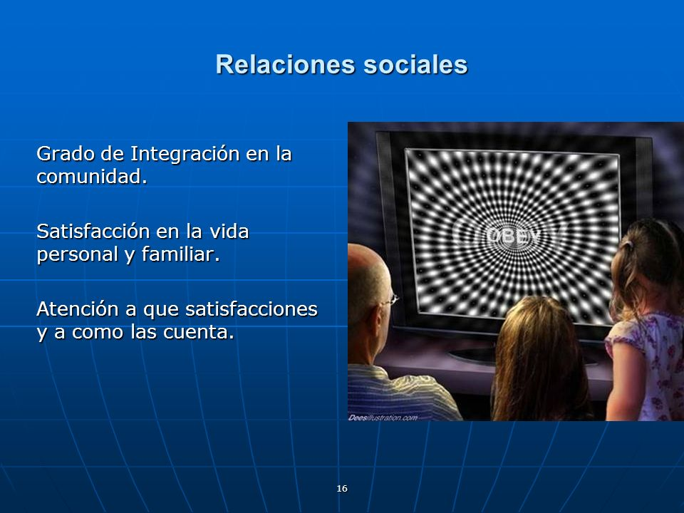 Relaciones sociales Grado de Integración en la comunidad.