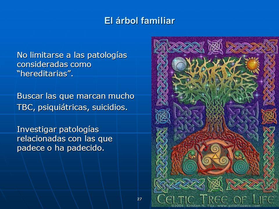 El árbol familiar No limitarse a las patologías consideradas como hereditarias . Buscar las que marcan mucho.
