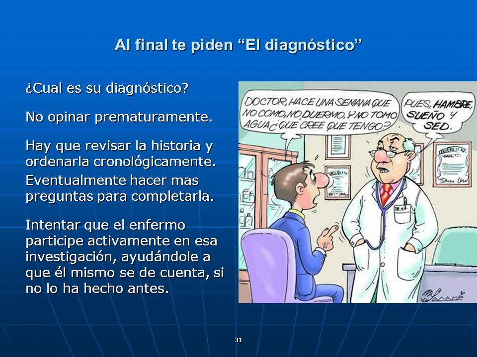 Al final te piden El diagnóstico