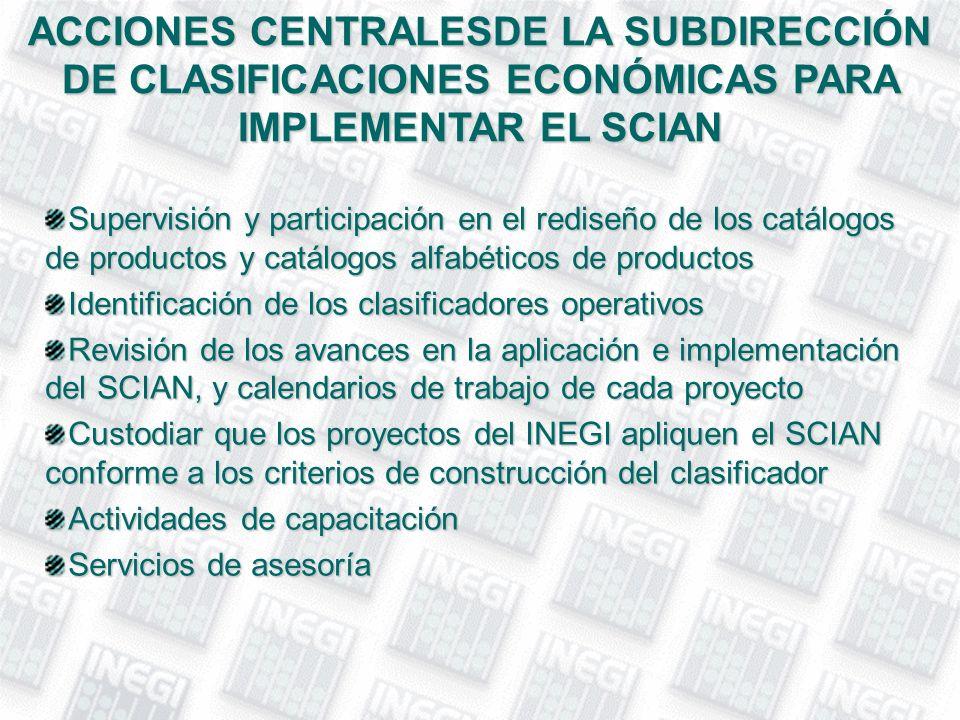 ACCIONES CENTRALESDE LA SUBDIRECCIÓN DE CLASIFICACIONES ECONÓMICAS PARA IMPLEMENTAR EL SCIAN