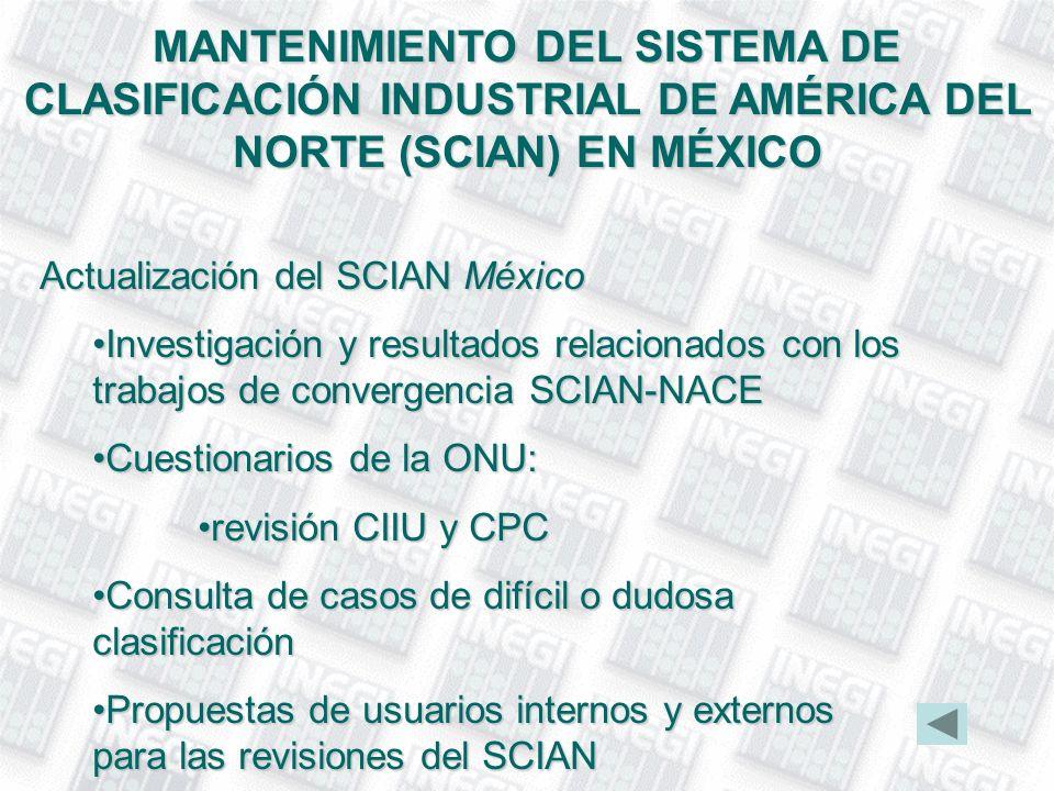 MANTENIMIENTO DEL SISTEMA DE CLASIFICACIÓN INDUSTRIAL DE AMÉRICA DEL NORTE (SCIAN) EN MÉXICO